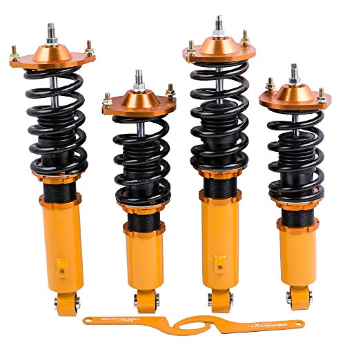 Coilovers for Mazda Miata MX5 MX-5 NA NB 1989-2005 Suspension Coil Spring Struts Shock,Adjustable height Camber Plate ()