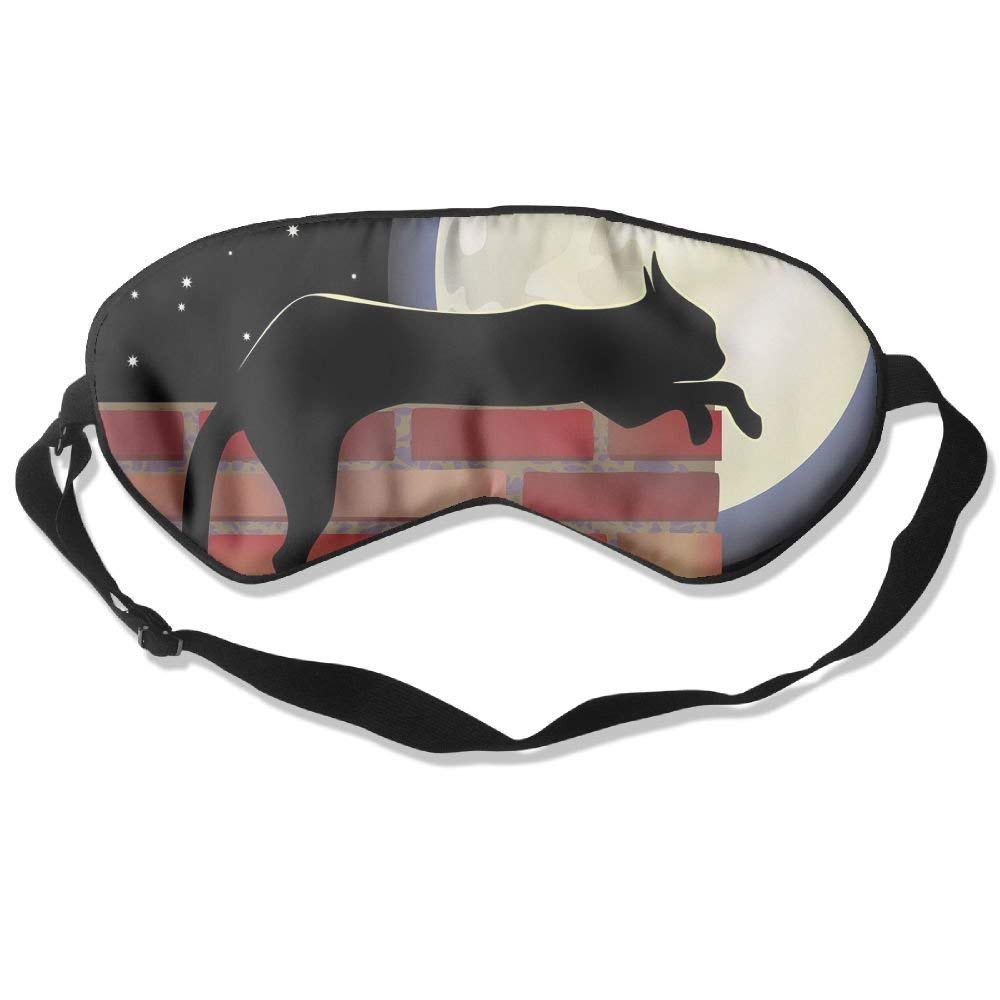 BetterStory Cat Silhouette Resting On A Brick Wall in A Starry Night Full Moon Imagery Decorative Adjustable Sleeping Eyes Mask Shading Sleep Mask