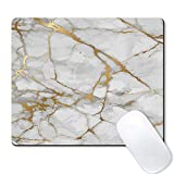Galdas Mouse Pad White Marble Gold Grain Watermark Background Design Mousepad Non Slip Rubber Gaming Mouse PadRectangle Mouse Pads for Computers Laptop- Marble