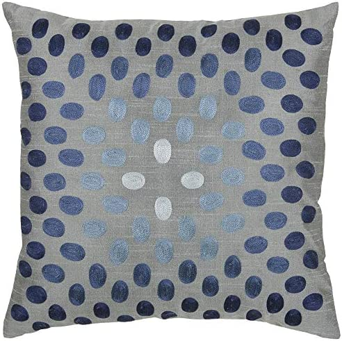 Rizzy Home T3070A 18 x18 Light Blue Dots Circularly Placed Decorative Pillow Poly Fill
