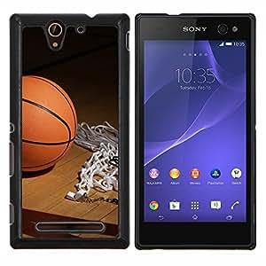 TECHCASE---Cubierta de la caja de protección para la piel dura ** Sony Xperia C3 ** --Aro de baloncesto