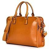 "Kattee Genuine Leather Briefcase Messenger Bag 14"" Laptop Handbag"