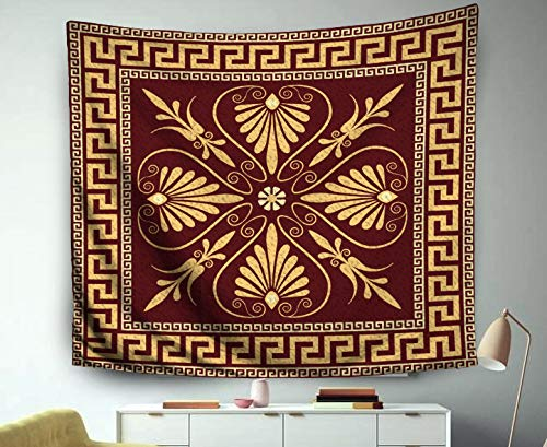 Jacrane Christmas Tapestry Wall Hanging with 50x60 Inches Christmas Traditional Vintage Golden Square Greek Ornament Meander Art Tapestries for Bedroom Living Room Home Decor Wall Hanging Tapestries -