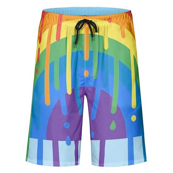 XJJ8 Pantalones Cortos Estampados de Ajuste clásico para Surf ...