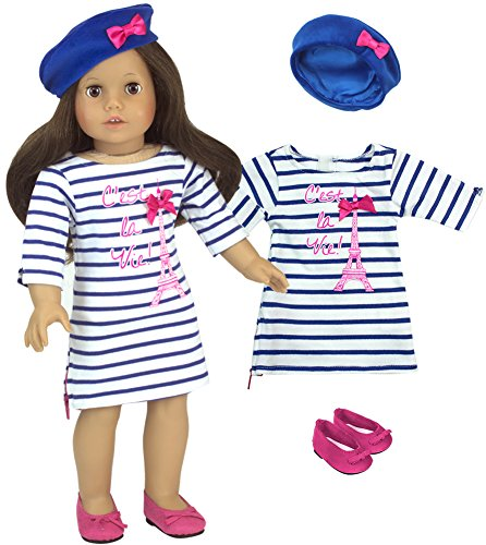 3 Piece Doll Outfit by Sophia's | White and Blue Striped Dress with Eiffel Tower, Blue Beret and Pink Shoes for 18 Inch Dolls]()