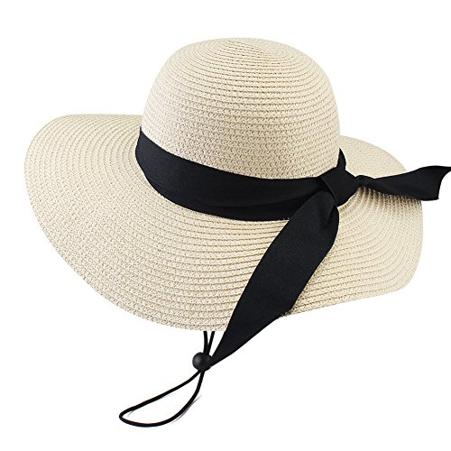 Wide Brim Beach Straw Sun Hat for Womens Travel Packable Cap with Summer Beach Chin Strap by FURTALK (Image #5)