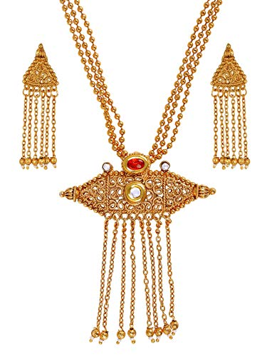 The Jewelbox Traditional Temple Antique Kundan Red Pearl 22K Gold Earring Necklace Set Girls Women ()