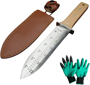Hori Hori Garden Knife with Sheath & Gardening Gloves| Hori Hori Knife | Digging Knife| Soil Knife for Gardening |Hoe Garden Tool for Weeds |Garden Starter Kit