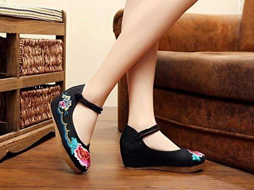 Fuxitoggo Bestickte Schuhe Leinen Sehnensohle Ethno-Stil Frauenschuhe Mode bequem lässig schwarz 37 (Farbe   - Größe   -)