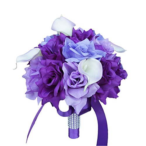 Wedding Bouquet - Shades of Purple, Lavender with Real Touch Calla Lily
