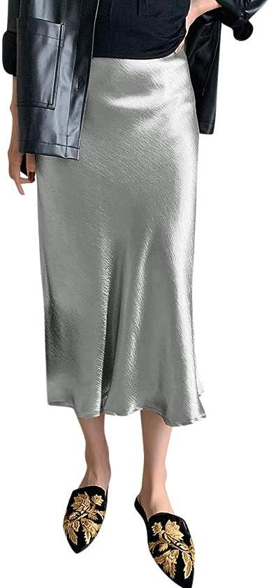Sylar Falda De Tubo Falda Larga Mujer De Gasa Color Sólido Faldas ...