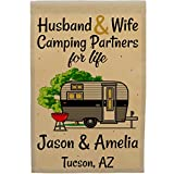 Happy Camper World Husband & Wife Camping Partners for Life, Personalized Camping Flag, Travel Trailer Campsite Sign (Black/Gray) Review