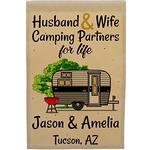 Happy Camper World Husband & Wife Camping Partners for Life, Personalized Camping Flag, Travel Trailer Campsite Sign (Black/Gray)