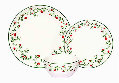 Berries 16 Piece Set (Melange Coupe 18-Piece Porcelain Dinnerware Set (Winterberry) | Service for 6 | Microwave, Dishwasher & Oven Safe | Dinner Plate, Salad Plate & Soup Bowl (6 Each))