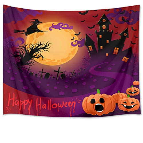 HVEST Halloween Tapestry Wall Hanging Full Moon Tapestry Witch Flying to Haunted Castle with Pumpkins and Grave by The Road Wall Blankets for Bedroom Living Room Dorm Decor,80Wx60H inches ()