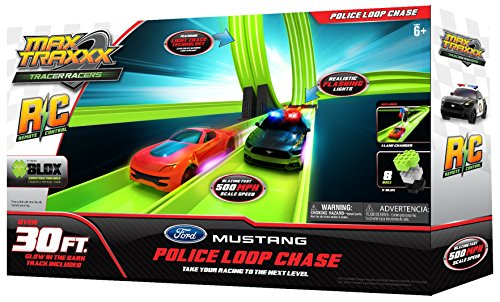 Max Traxxx R/C Tracer Racers High Speed Remote Control 'Police Loop' Track Set with Officially Licensed Ford Mustang Car -