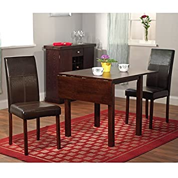 Amazon.com: Dining Room Set, 3-piece - Drop Leaf Table and 2 ...