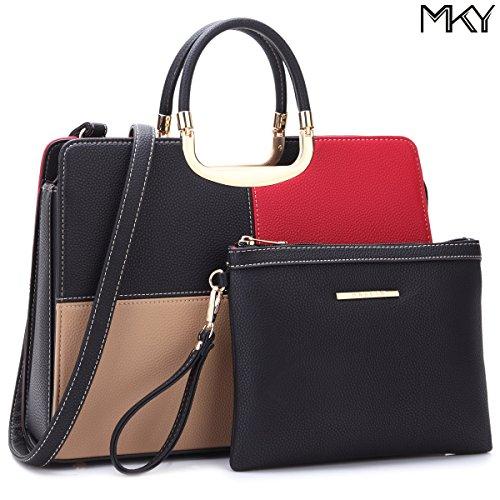 Large Leather Satchel Handbag Designer Purse Wallet Set Shoulder Bag (Multi Color Purse Handbag)