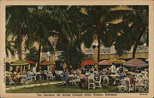Tea Gardens, The British Colonial Hotel Nassau, Bahamas Original Vintage Postcard