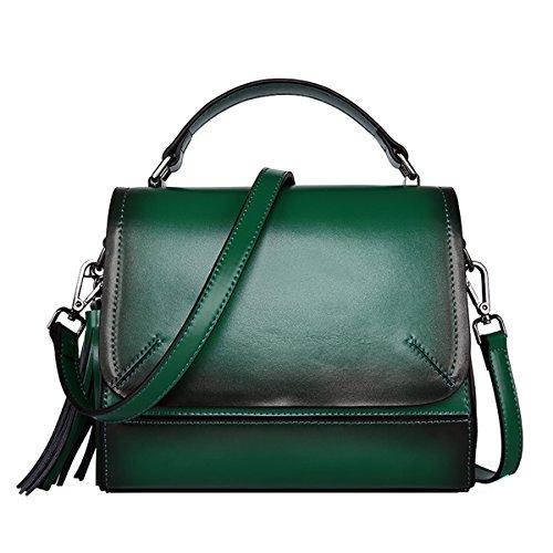 DISSA VQ0856 Damen Leder Handtaschen Satchel Tote Taschen Schultertaschen Grün