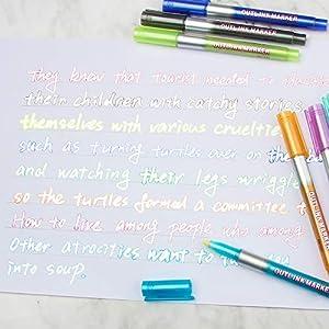 Self-outline Metallic Markers, Outline Marker Double Line Pen Journal Pens Colored Permanent Marker Pens for Kids,Amateurs and Professionals Illustration Coloring Sketching Card Make