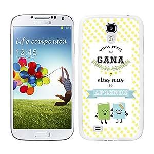 Funda carcasa TPU (Gel) para Samsung Galaxy S4 frase Unas veces se gana y otra veces se aprende borde blanco