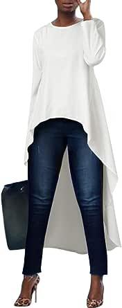 kenoce Blusa de Mujer Irregular Maxi Blusa Sueltas Largas Camiseta Abertura Larga Cuello Redondo y Manga Larga Elegante Fiesta Cóctel Noche: Amazon.es: Ropa y accesorios