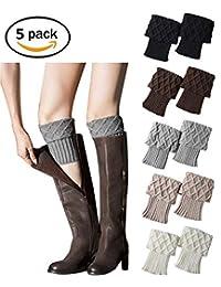 JTAISC 5 Pack Women Winter Christmas Pattern Leg Warmer Corchet Knit Boot Socks