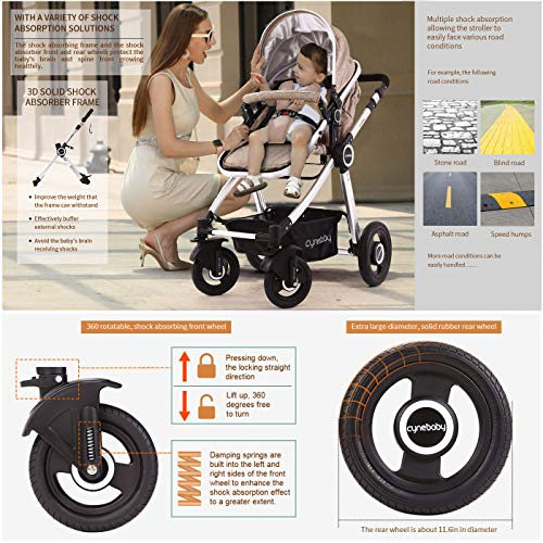 51FHrwA9L4L - Baby Stroller Bassinet Pram Carriage Stroller - Cynebaby All Terrain Vista City Select Pushchair Stroller Compact Convertible Luxury Strollers Add Foot Cover (Light Brown)