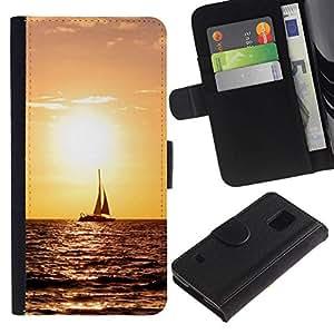 NEECELL GIFT forCITY // Billetera de cuero Caso Cubierta de protección Carcasa / Leather Wallet Case for Samsung Galaxy S5 V SM-G900 // Sunset Sailing
