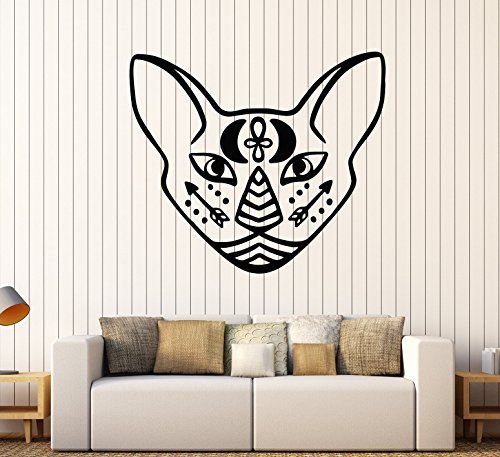Wallstickers4you Vinyl Wall Decal Egyptian Sphynx Cat Pet Head Moon Arrows Tattoo Stickers Large Decor (2533ig) Black -