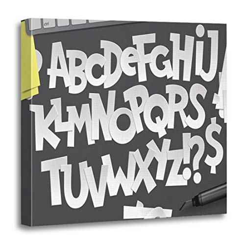 Semtomn Canvas Wall Art Print Alphabetical Latin Alphabet Made of Letters Cut Out ABC Artwork for Home Decor 16 x 16 Inches