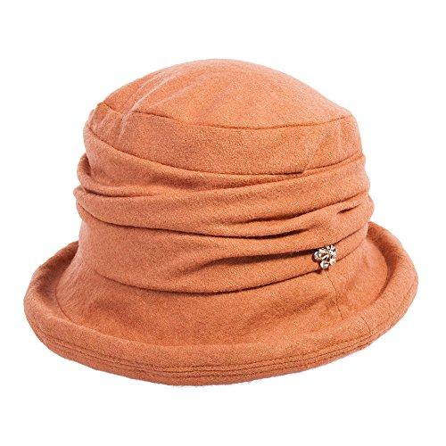 Siggi Ladies 1920s Vintage Wool Felt Cloche Bucket Bowler Hat Packable - Felt Bucket