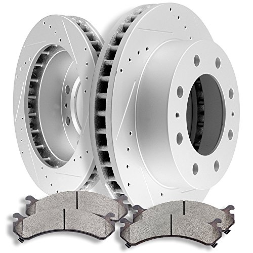 SCITOO Brake Kits Front Discs Brake Rotors and Ceramic Pads fit Chevy Avalanche 2500/Express 3500/Silverado 2500 HD 3500 3500 HD,GMC Savana 3500/Sierra 2500HD 3500 3500HD
