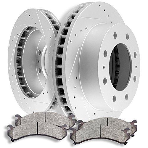 Brake Kits SCITOO Front Discs Brake Rotors and Ceramic Pads fit Chevy Avalanche 2500/Express 3500/Silverado 2500 HD 3500 3500 HD,GMC Savana 3500/Sierra 2500HD 3500 3500HD