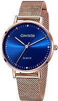 Comtex Montre Femme Or Rose Acier Inoxydable Bracelet Cadran Bleu Quartz Analogique Diamant Élégant Résistant à L'eau (Bleu)