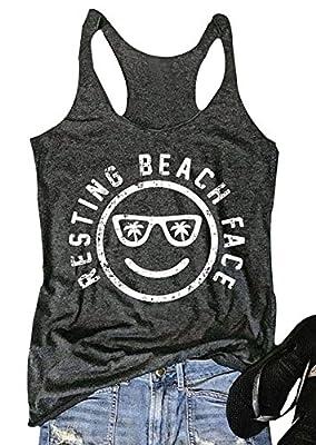 Mk Shop Limited Women's Resting Beach Face Sleeveless Funny Workout Tank Top T-Shirt
