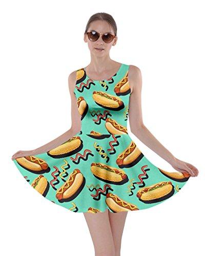 CowCow Womens Mint Hot Dog Skater Dress, Mint - XS