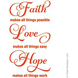 Faith Love Hope Quote Vinyl Wall Decal Sticker Art, Words Home Decor, Mural, Orange