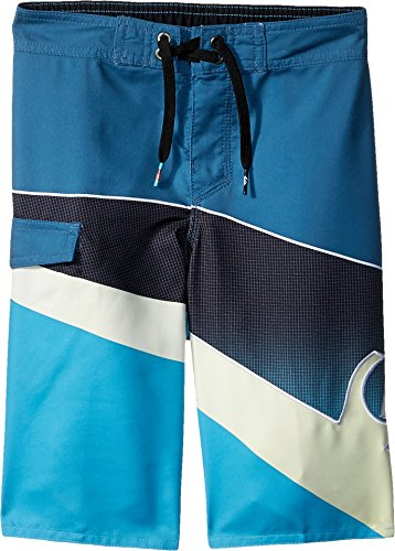 Quiksilver Boys' Little Slash Fade Logo Youth Boardshort Swim Trunk, Real Teal, 7X