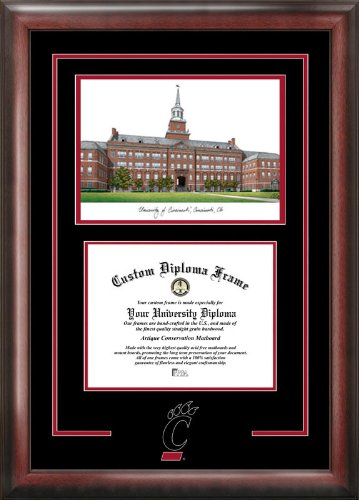 NCAA Cincinnati Bearcats Spirit Graduate Diploma Frame with Campus Images Lithograph, Multicolor, One Size by Campus Images