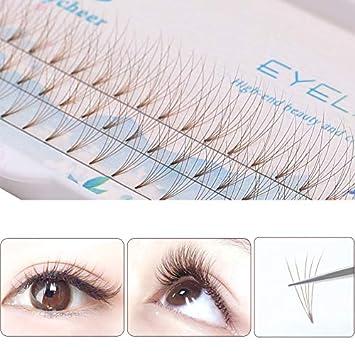 5d9a5358cc9 Amazon.com : ICYCHEER 5 Roots 0.07C 8/9/10/11/12 Grafting False Eyelashes  Brown Individual Eyelash Natural Long Mink Fake Eyelashes Extension Cluster  (10mm) ...