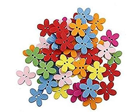 Nicedeal - 100 Botones de Madera para Costura, Manualidades, Manualidades
