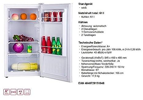 Amica VKS 15194 W Tischkühlschrank Vollraum 62l A+ 106kWh/Jahr ...