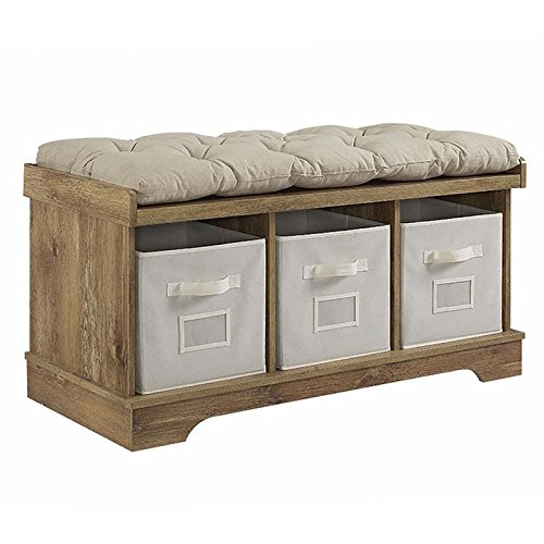 Pemberly Row 3 Cubby Cushion Storage Bench in Barnwood with