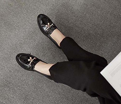 40 Heel Tassel Toe 2 Pure Black Simple Slip Ballerina Work Round Flats Chunkly Women On Shoes Pump 5cm Eu Loafer Shoes Casual Court Color 34 Size x0XSwvxYq