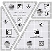 """Creative Grids Scrap Crazy for 6"""" Finished Blocks - Set of Four Quilting Ruler Templates  CGRMT6"""