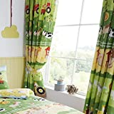 Happy Linen Company Childrens Boys Girls Farm Animals Green Yellow 66' x 54' Pencil Pleat Curtain Set