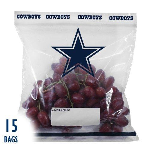 Spectrum 5817-20002 NFL Plastic Dallas Cowboys Press to Close Gallon Food Storage Bag (Pack of 15)