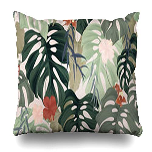 Hitime Throw Pillow Cover Collage Floral Tropical Plants Splitleaf Split Leaf Philodendron Pastel Hibiscus Flowers Weeping Willow Decorative Pillowcase Square Size 16 x 16 Inches Home Cushion ()